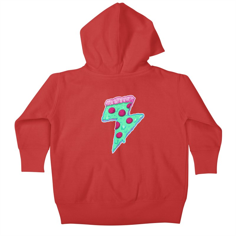 Thunder Neon Pizza Kids Baby Zip-Up Hoody by exeivier's Artist Shop