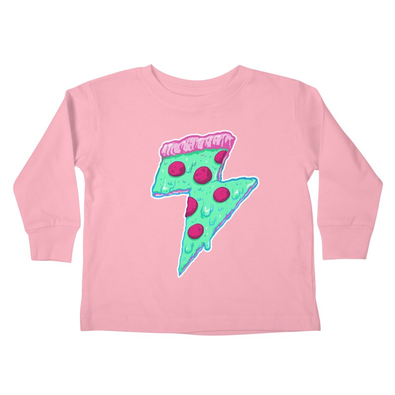 Thunder Neon Pizza Kids Toddler Longsleeve T-Shirt by exeivier's Artist Shop