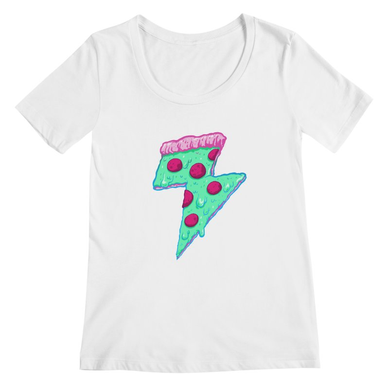 Thunder Neon Pizza Women's Scoopneck by exeivier's Artist Shop