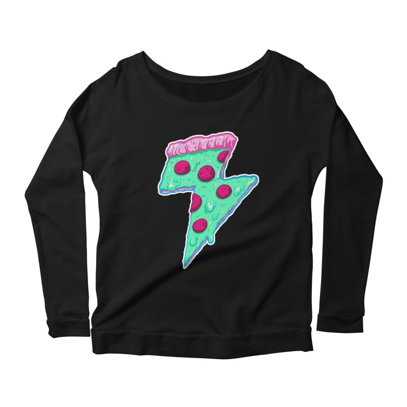 Thunder Neon Pizza Women's Scoop Neck Longsleeve T-Shirt by exeivier's Artist Shop