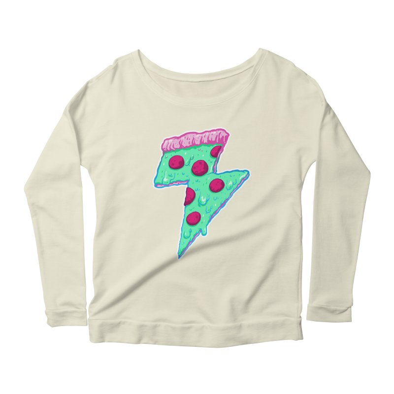 Thunder Neon Pizza Women's Longsleeve Scoopneck  by exeivier's Artist Shop