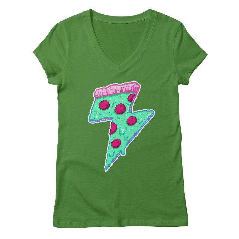 Thunder Neon Pizza Women's Regular V-Neck by exeivier's Artist Shop