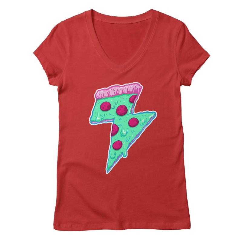 Thunder Neon Pizza Women's V-Neck by exeivier's Artist Shop