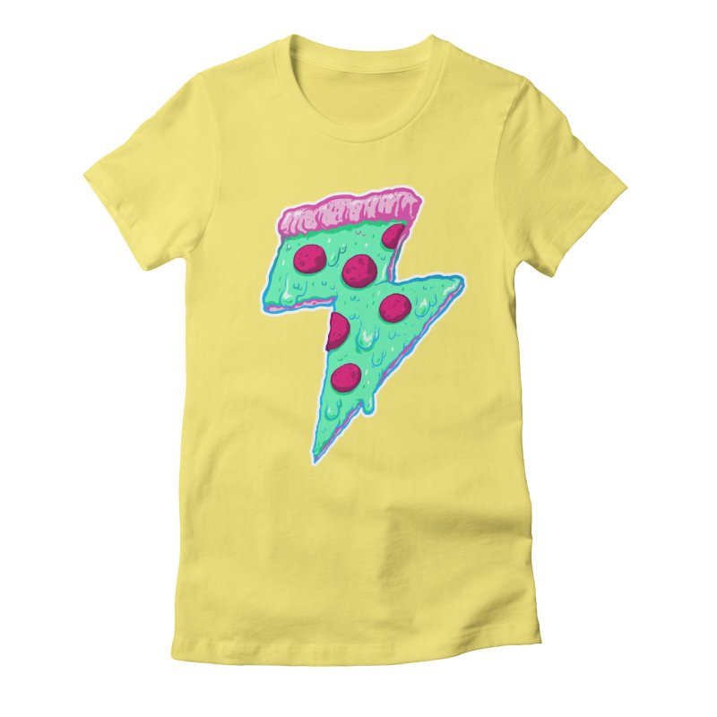 Thunder Neon Pizza Women's Fitted T-Shirt by exeivier's Artist Shop