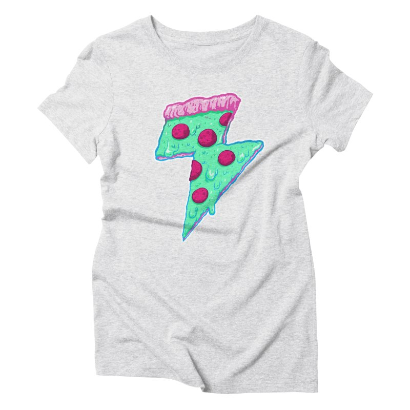 Thunder Neon Pizza Women's Triblend T-shirt by exeivier's Artist Shop