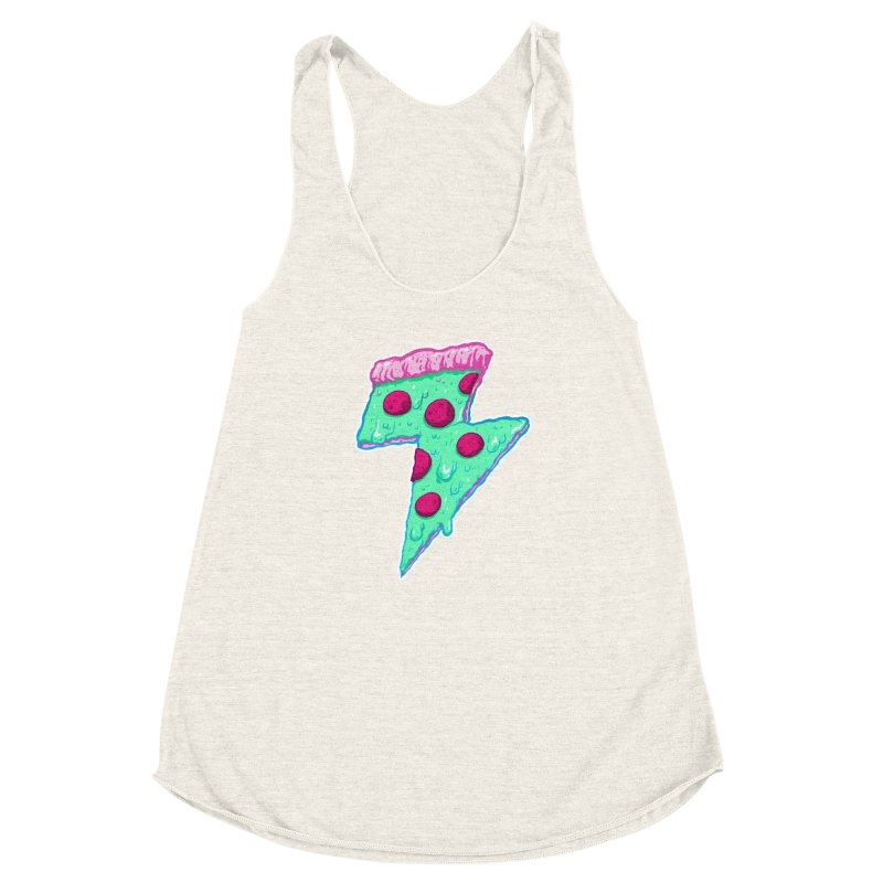 Thunder Neon Pizza Women's Racerback Triblend Tank by exeivier's Artist Shop