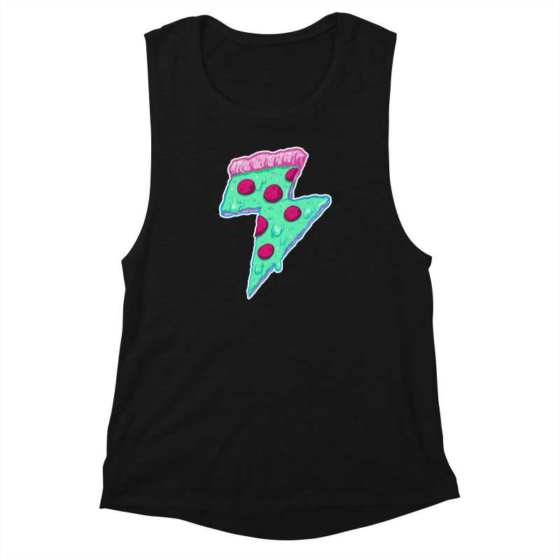 Thunder Neon Pizza Women's Muscle Tank by exeivier's Artist Shop