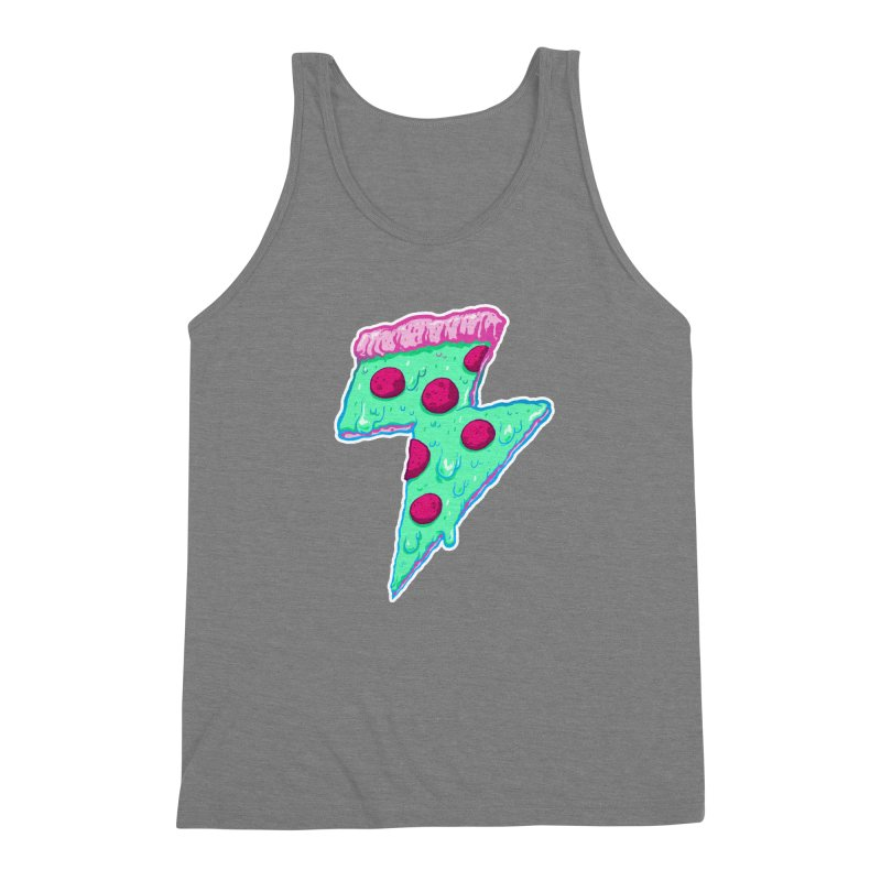 Thunder Neon Pizza Men's Triblend Tank by exeivier's Artist Shop