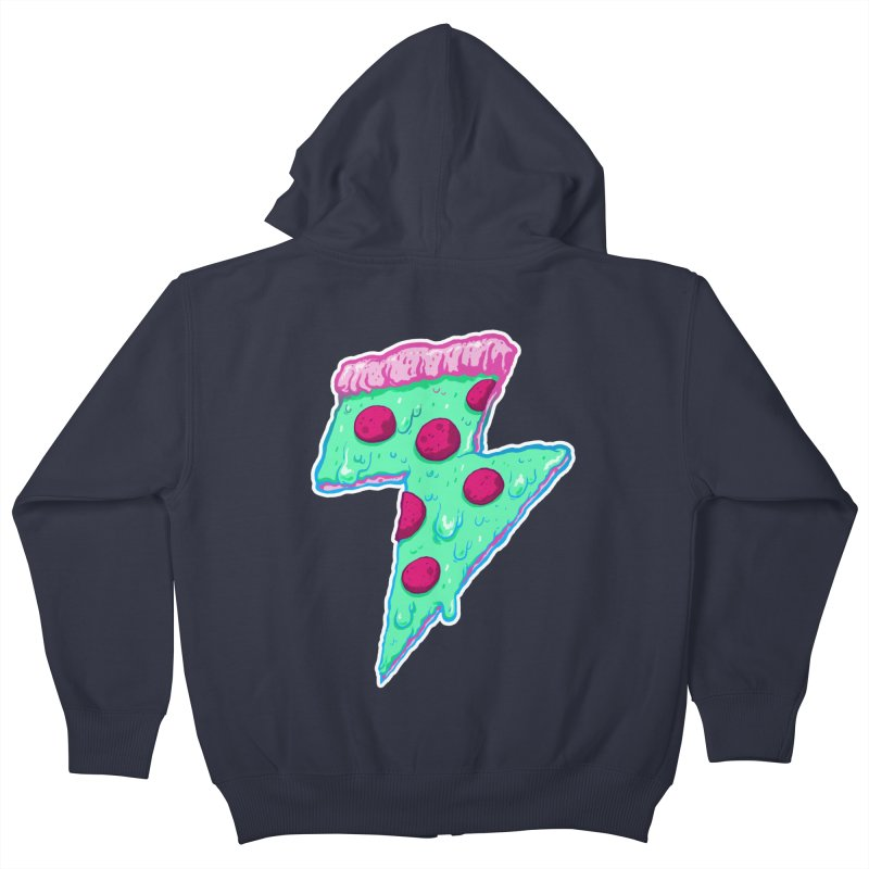 Thunder Neon Pizza Kids Zip-Up Hoody by exeivier's Artist Shop