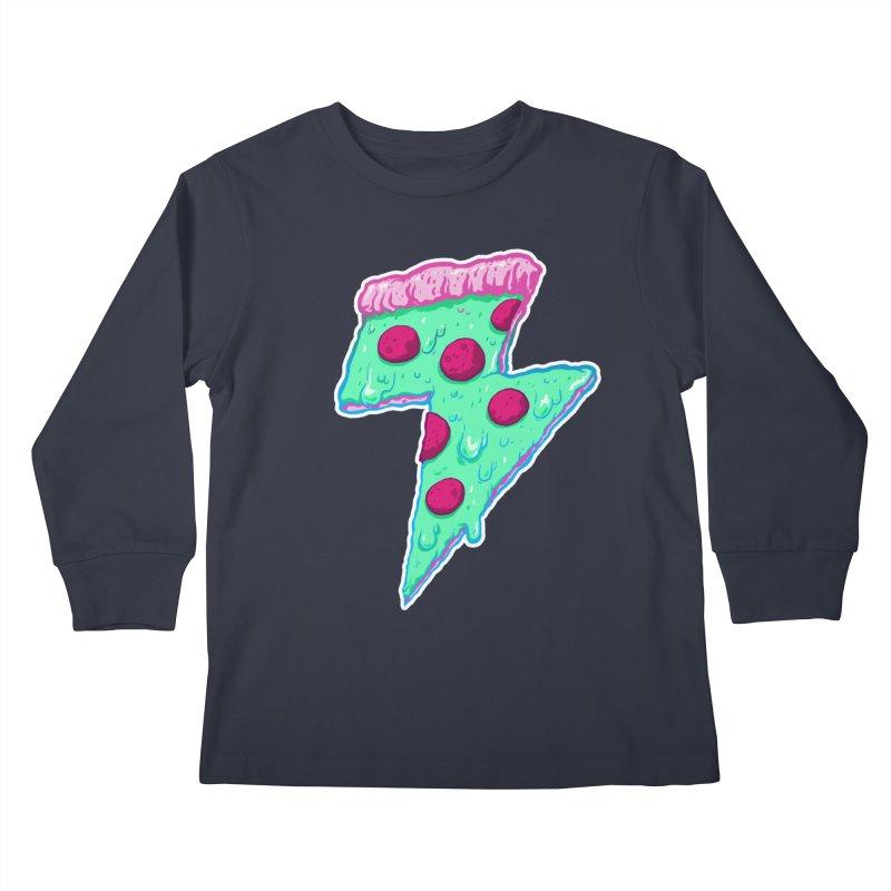 Thunder Neon Pizza Kids Longsleeve T-Shirt by exeivier's Artist Shop