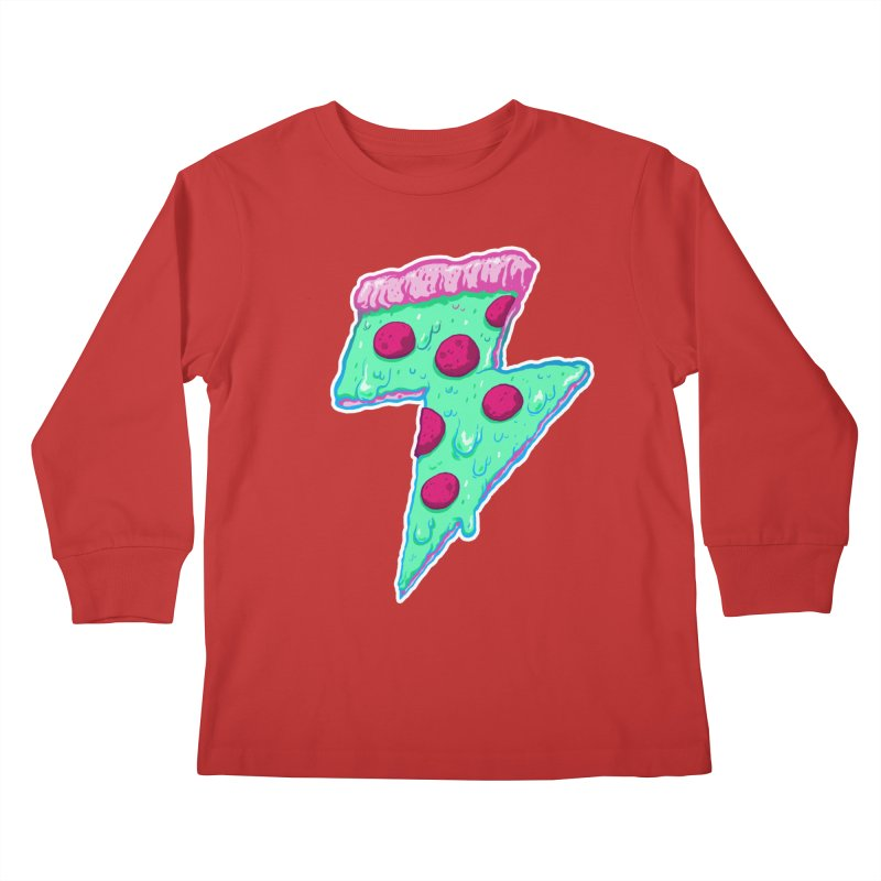 Thunder Neon Pizza Kids Longsleeve T-Shirt by exeivier's Artist Shop