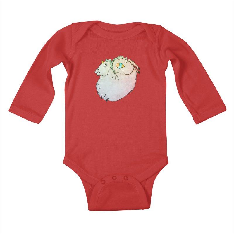 Fatty Unicorn Kids Baby Longsleeve Bodysuit by exeivier's Artist Shop