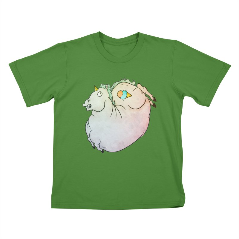 Fatty Unicorn Kids T-Shirt by exeivier's Artist Shop