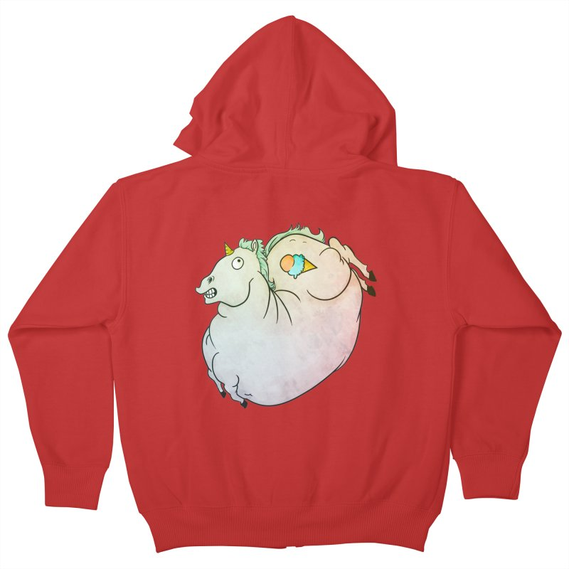 Fatty Unicorn Kids Zip-Up Hoody by exeivier's Artist Shop