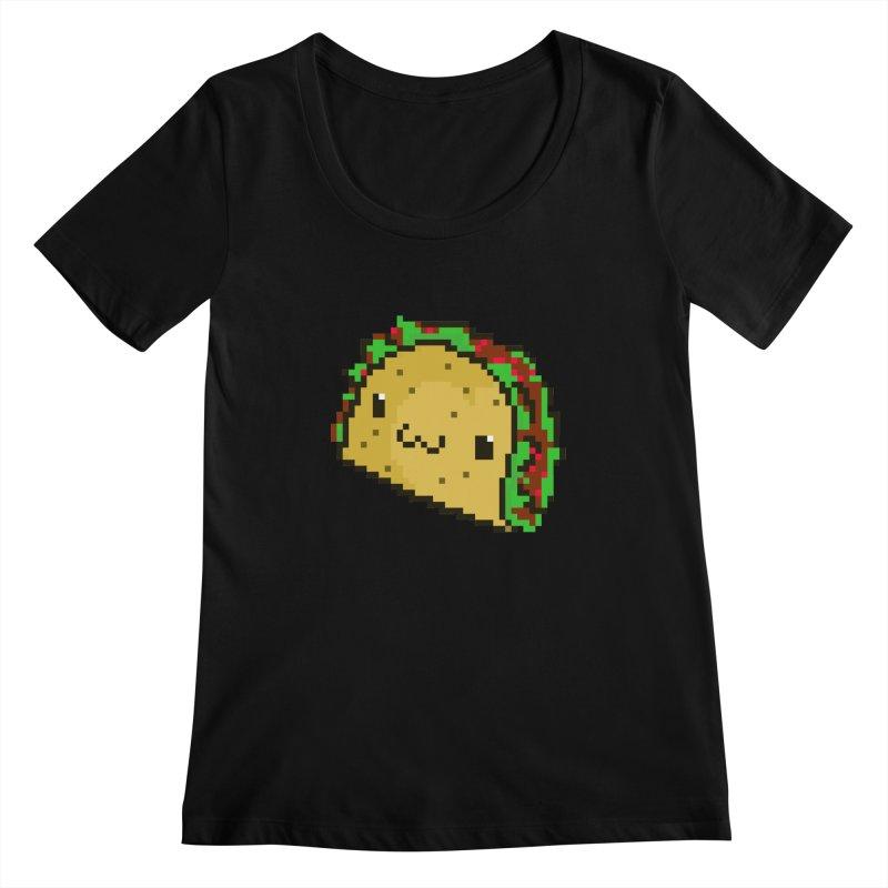 Pixel Taco Women's Scoopneck by exeivier's Artist Shop