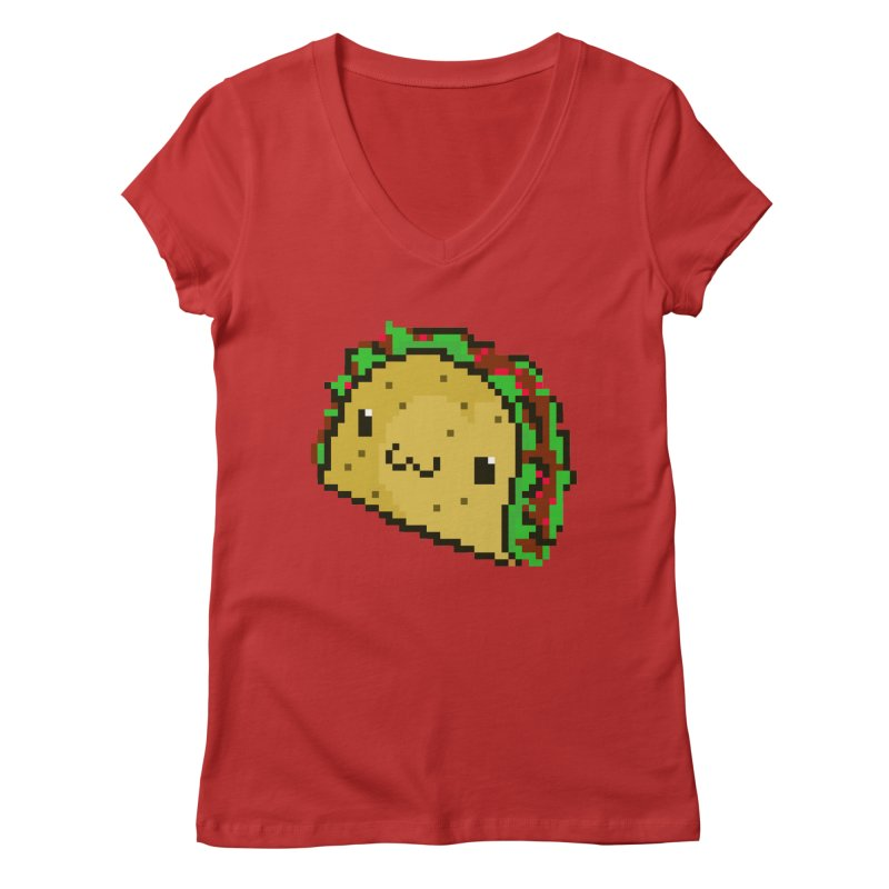Pixel Taco Women's V-Neck by exeivier's Artist Shop