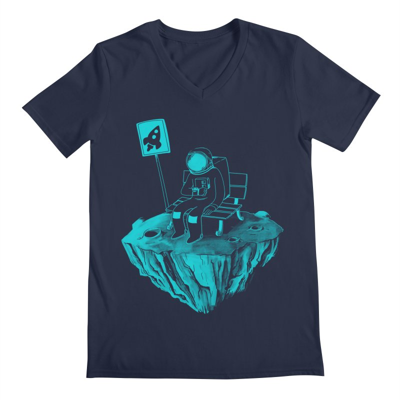 Waiting for my Rocket Bus Men's V-Neck by exeivier's Artist Shop