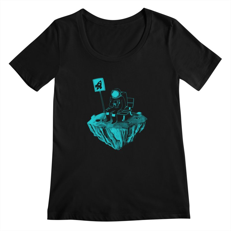 Waiting for my Rocket Bus Women's Scoopneck by exeivier's Artist Shop