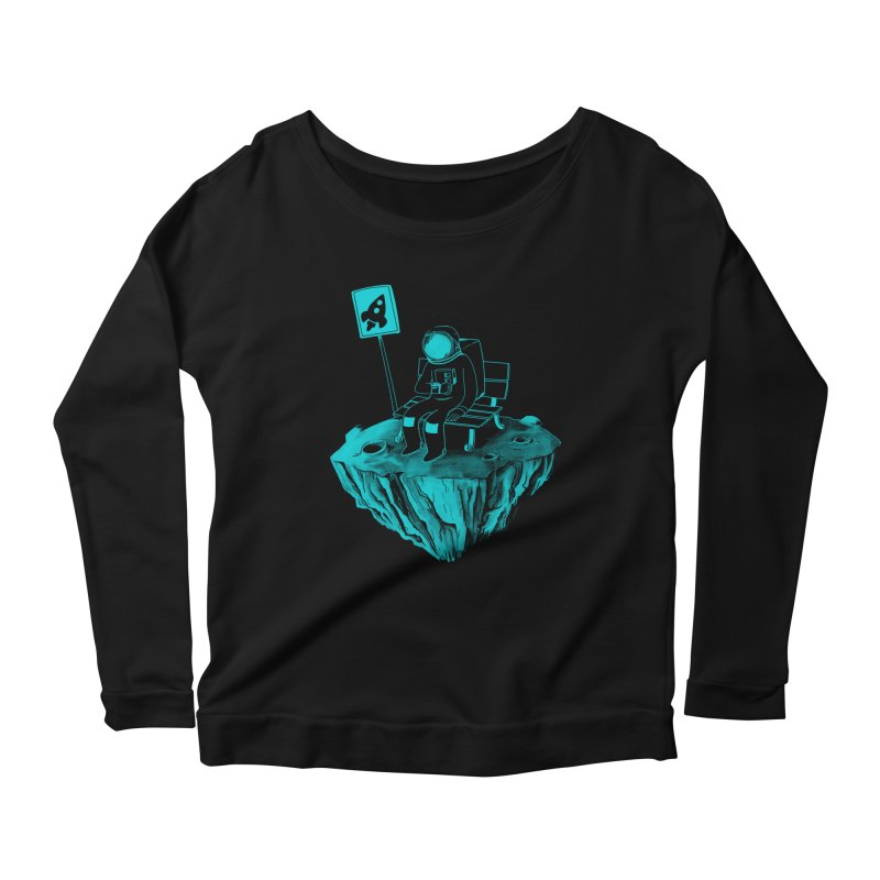 Waiting for my Rocket Bus Women's Longsleeve Scoopneck  by exeivier's Artist Shop