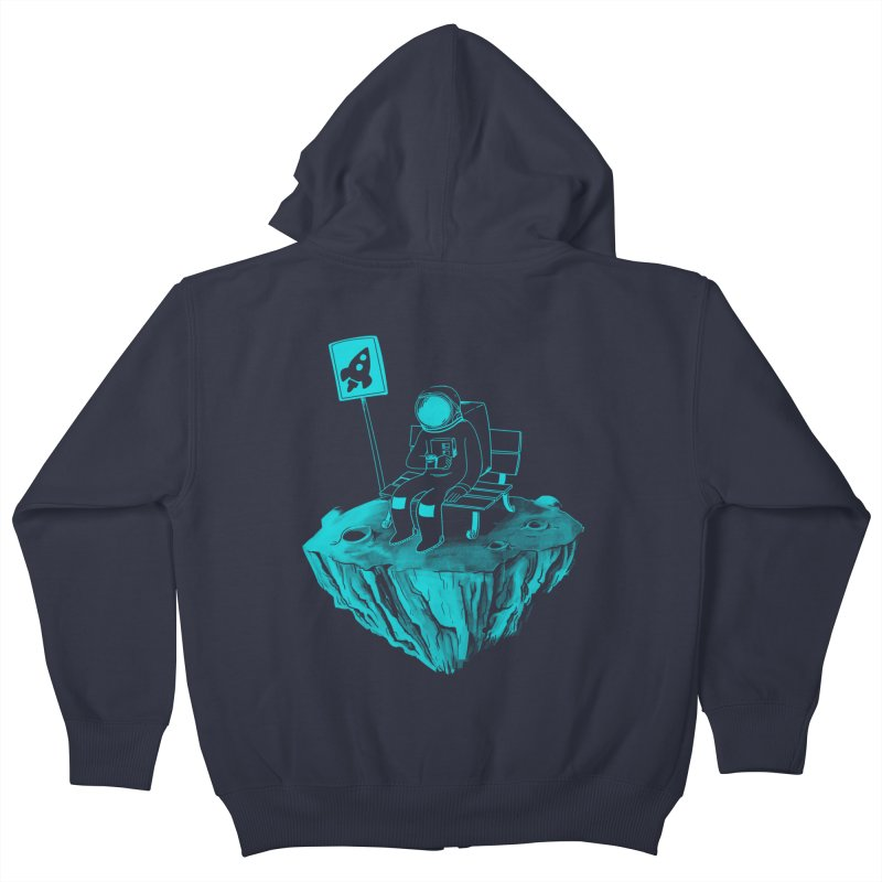 Waiting for my Rocket Bus Kids Zip-Up Hoody by exeivier's Artist Shop