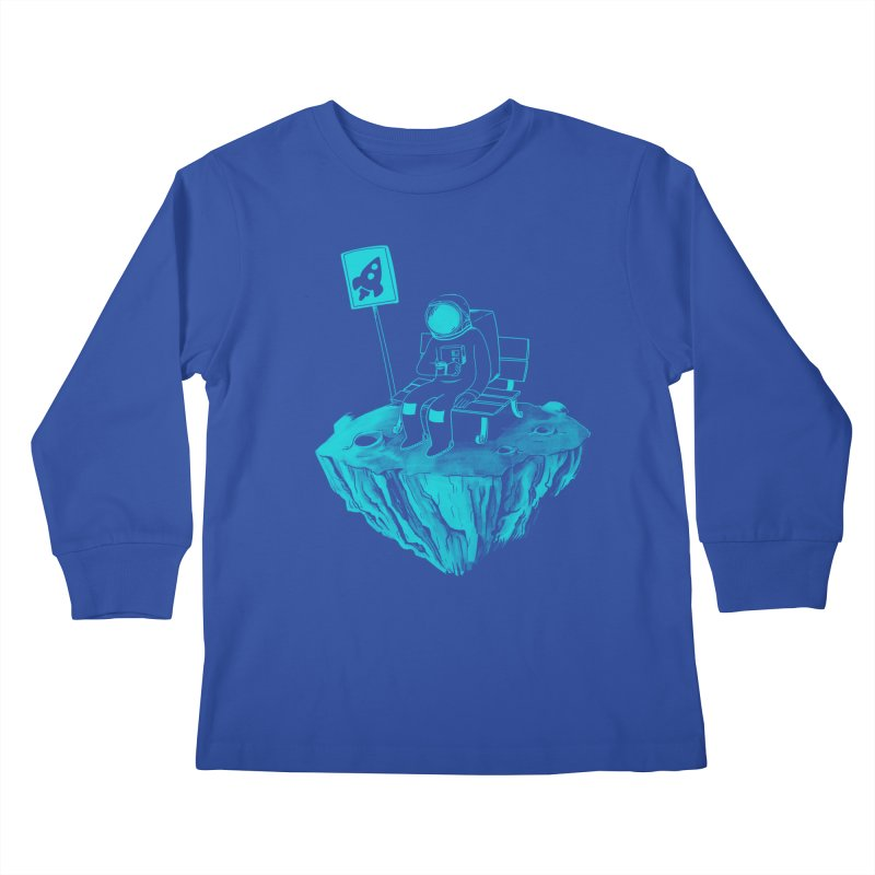Waiting for my Rocket Bus Kids Longsleeve T-Shirt by exeivier's Artist Shop