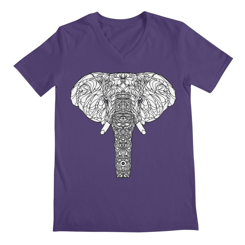 The Majestic Elephant Men's V-Neck by exiledesigns's Artist Shop