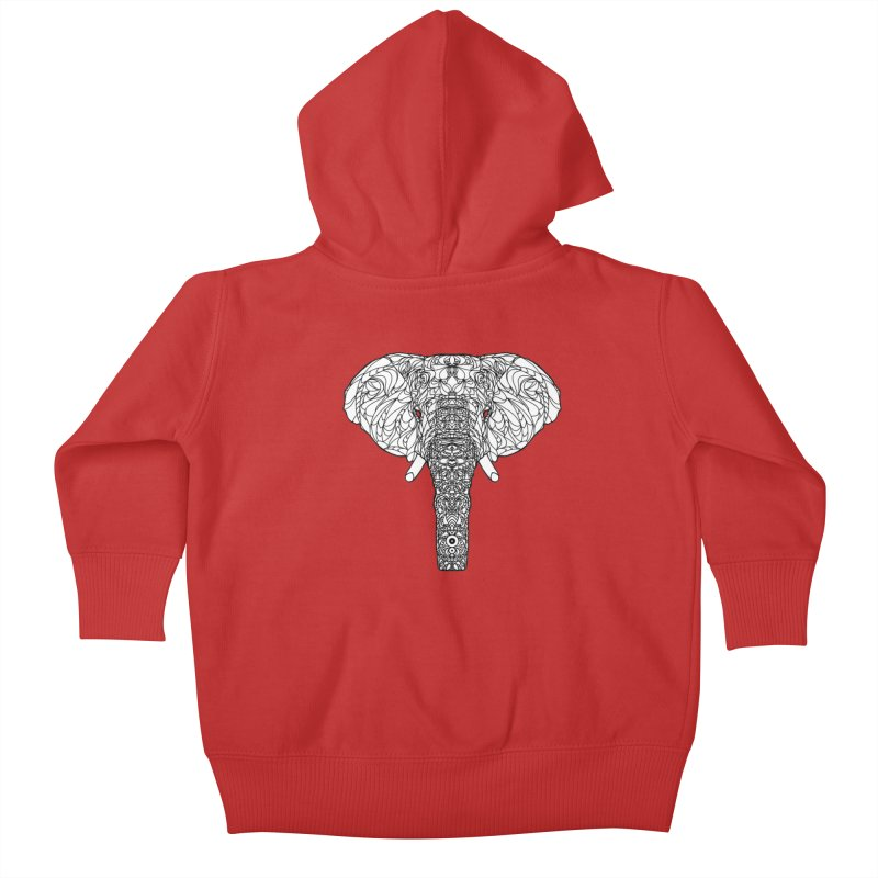 The Majestic Elephant Kids Baby Zip-Up Hoody by exiledesigns's Artist Shop