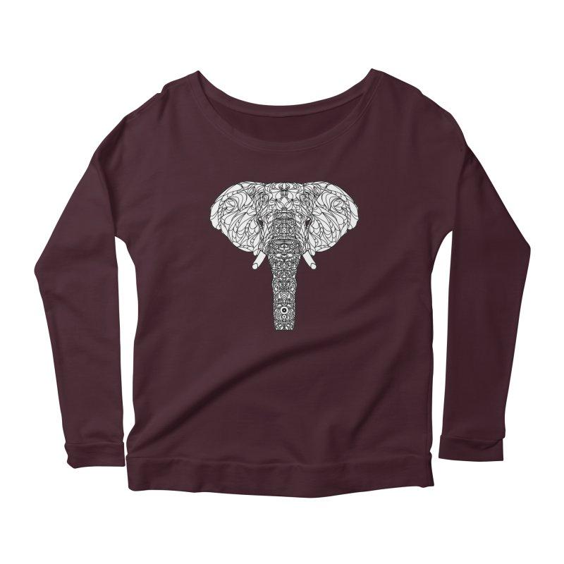 The Majestic Elephant Women's Longsleeve Scoopneck  by exiledesigns's Artist Shop