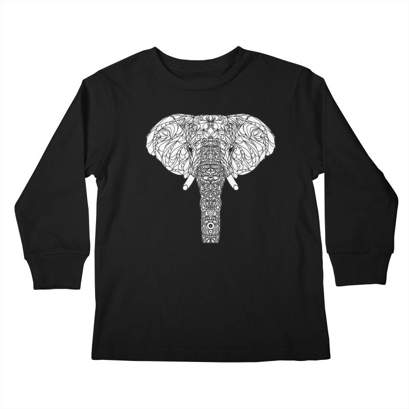 The Majestic Elephant Kids Longsleeve T-Shirt by exiledesigns's Artist Shop