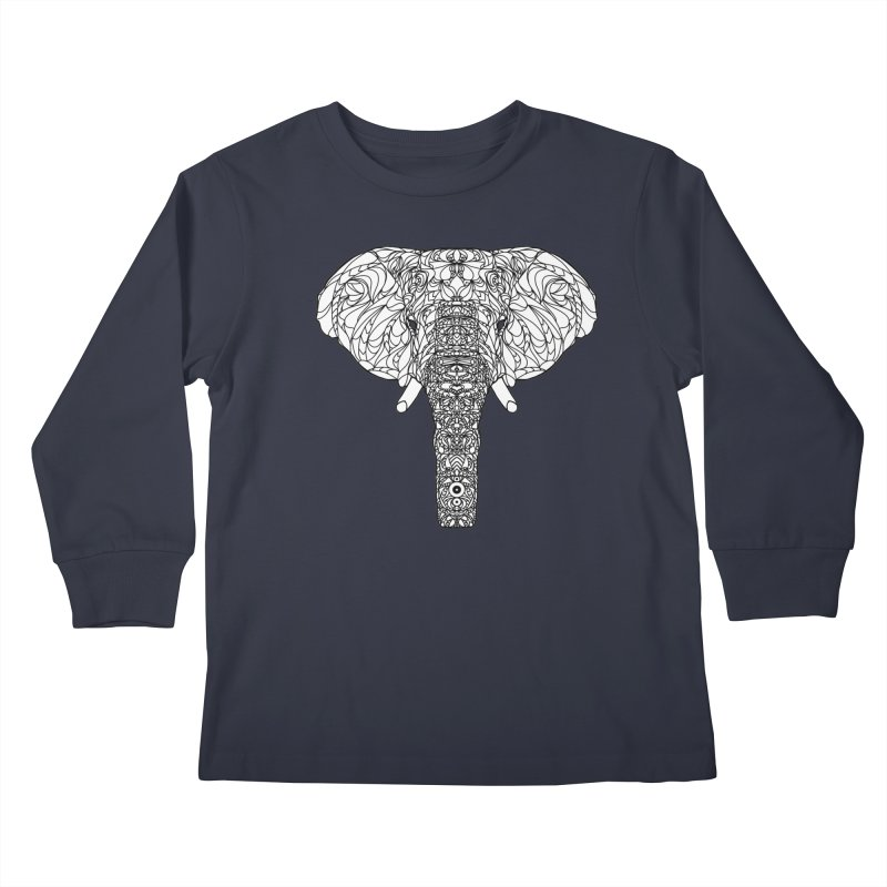 The Majestic Elephant Kids Longsleeve T-Shirt by exiledesigns's Artist Shop