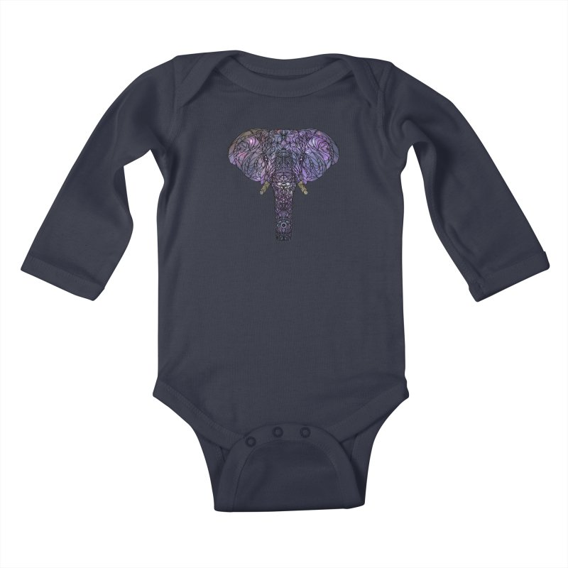 The 'Brilliant' Majestic Elephant  Kids Baby Longsleeve Bodysuit by exiledesigns's Artist Shop