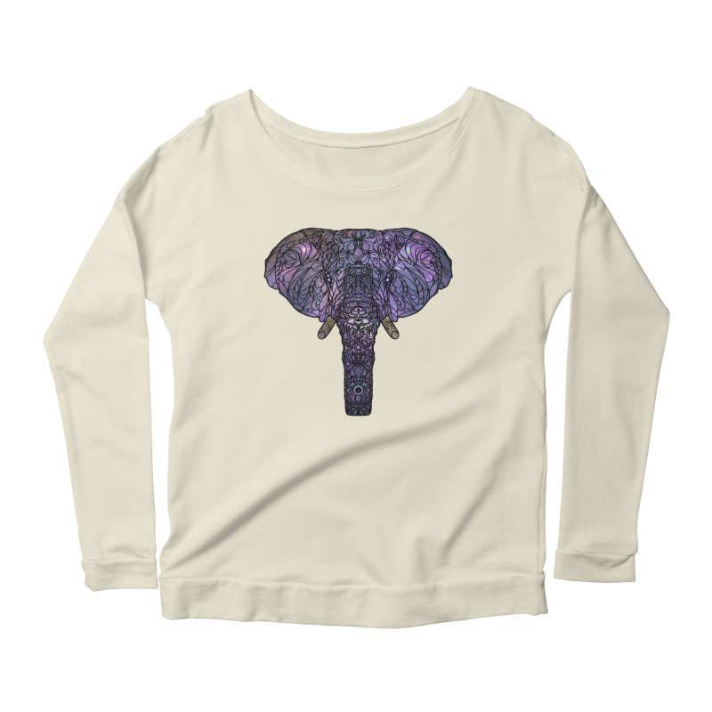 The 'Brilliant' Majestic Elephant  Women's Longsleeve Scoopneck  by exiledesigns's Artist Shop