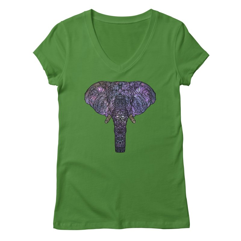 The 'Brilliant' Majestic Elephant  Women's V-Neck by exiledesigns's Artist Shop