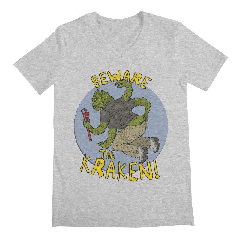 Beware the Kraken! Men's V-Neck by ExistentialEgg's Menagerie of Wearable Junk