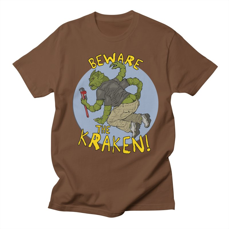 Beware the Kraken! Men's T-Shirt by ExistentialEgg's Menagerie of Wearable Junk