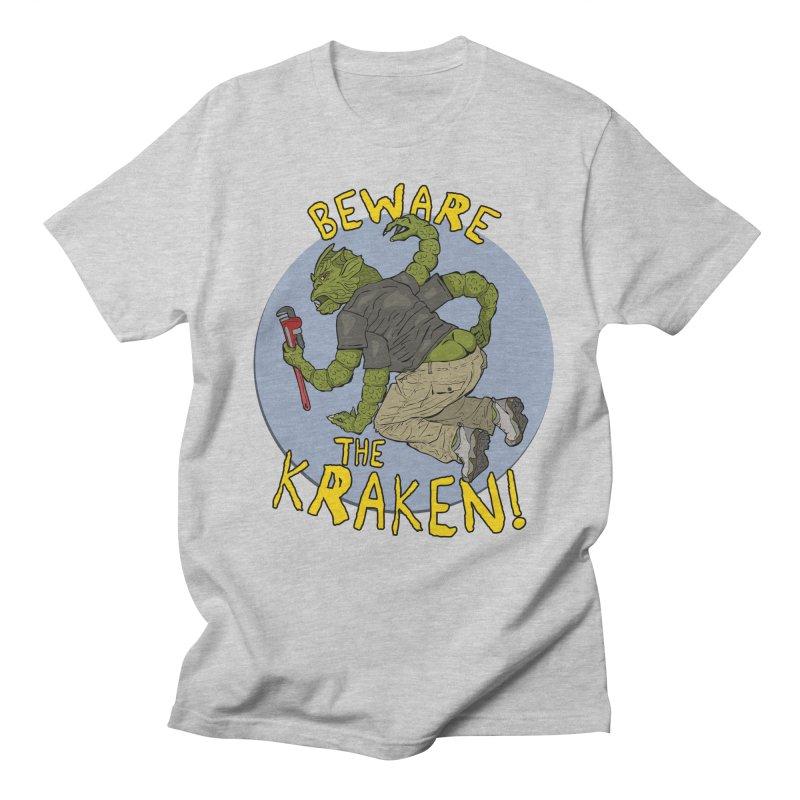 Beware the Kraken! Men's Regular T-Shirt by ExistentialEgg's Menagerie of Wearable Junk