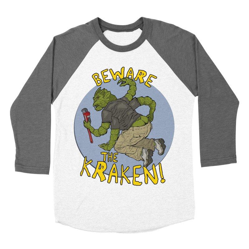 Beware the Kraken! Women's Baseball Triblend T-Shirt by ExistentialEgg's Menagerie of Wearable Junk