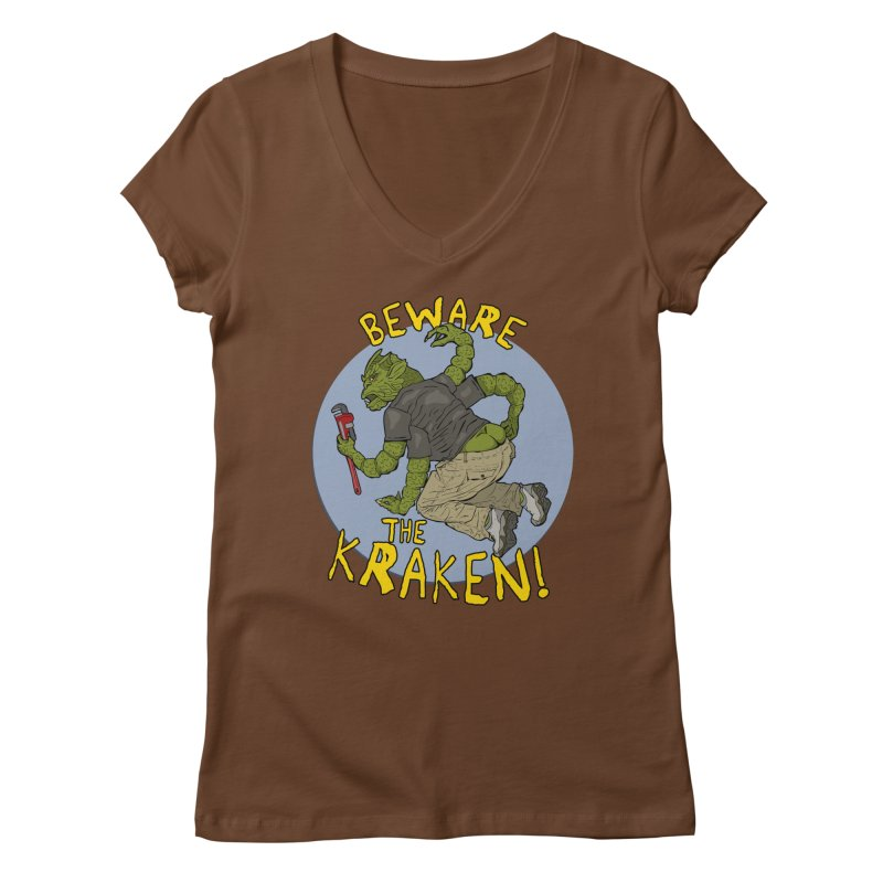 Beware the Kraken! Women's V-Neck by ExistentialEgg's Menagerie of Wearable Junk