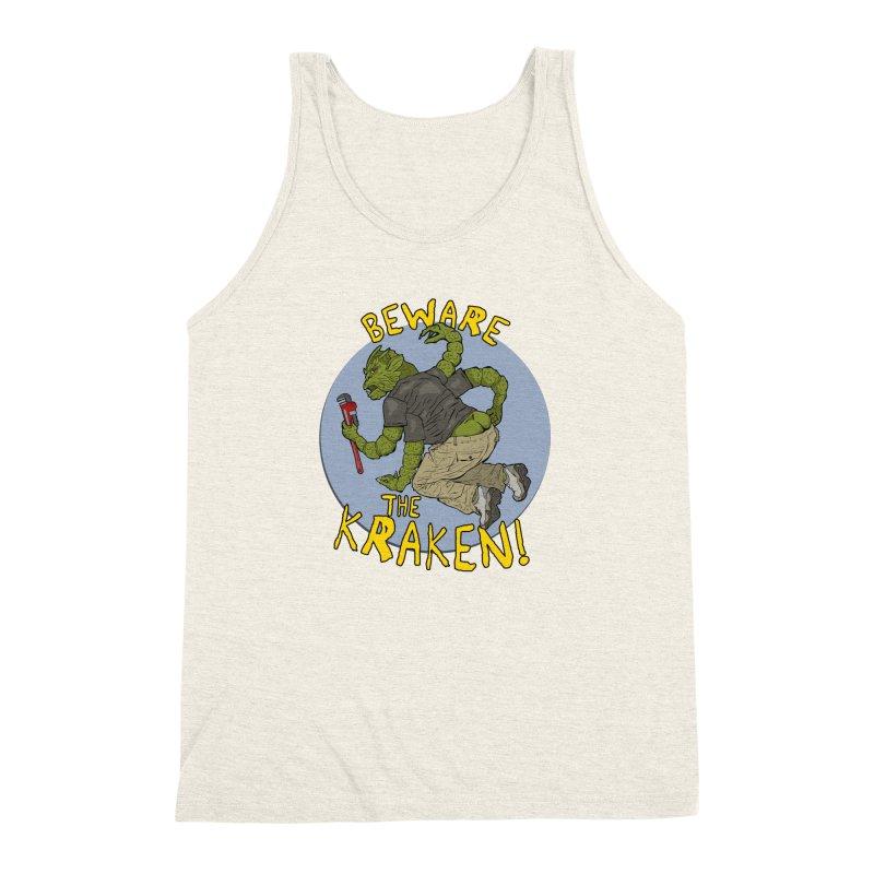 Beware the Kraken! Men's Triblend Tank by ExistentialEgg's Menagerie of Wearable Junk