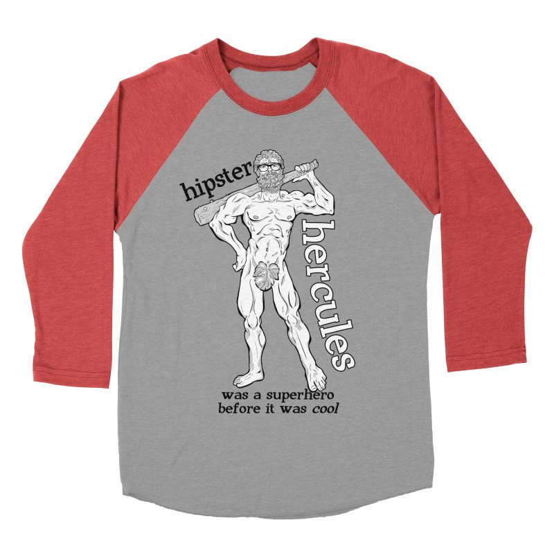 Hipster Hercules Men's Baseball Triblend T-Shirt by ExistentialEgg's Menagerie of Wearable Junk