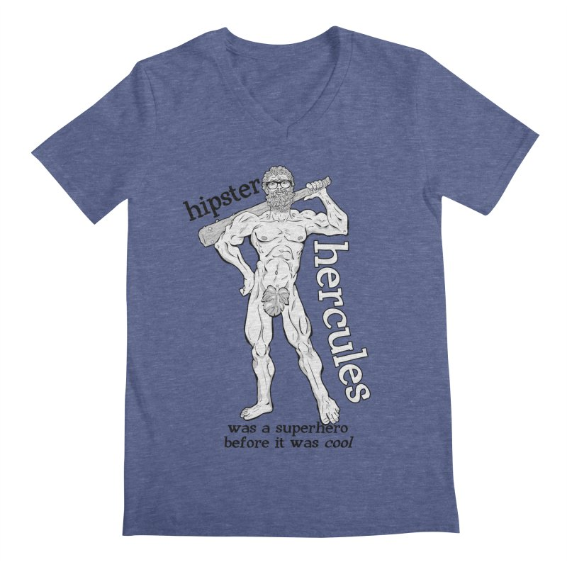 Hipster Hercules Men's V-Neck by ExistentialEgg's Menagerie of Wearable Junk