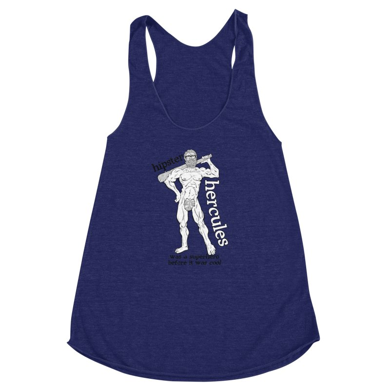 Hipster Hercules Women's Racerback Triblend Tank by ExistentialEgg's Menagerie of Wearable Junk