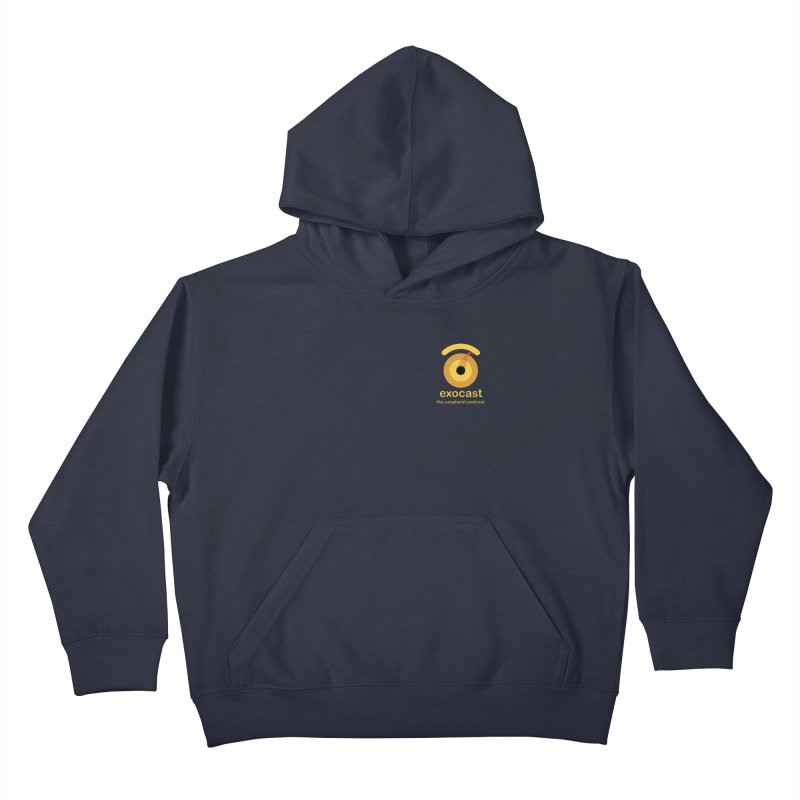 exocast small logo Kids Pullover Hoody by exocast the exoplanet podcast store