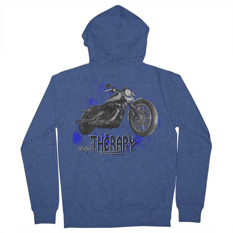 THROTTLE THERAPY BLUE SPLAT UNO Men's French Terry Zip-Up Hoody by ExploreDaily's Artist Shop