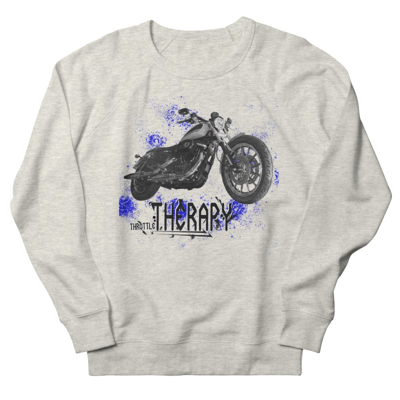 THROTTLE THERAPY BLUE SPLAT UNO Women's French Terry Sweatshirt by ExploreDaily's Artist Shop