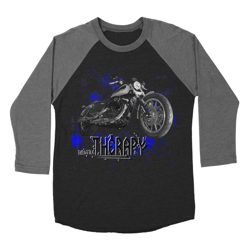 THROTTLE THERAPY BLUE SPLAT UNO Women's Baseball Triblend Longsleeve T-Shirt by ExploreDaily's Artist Shop