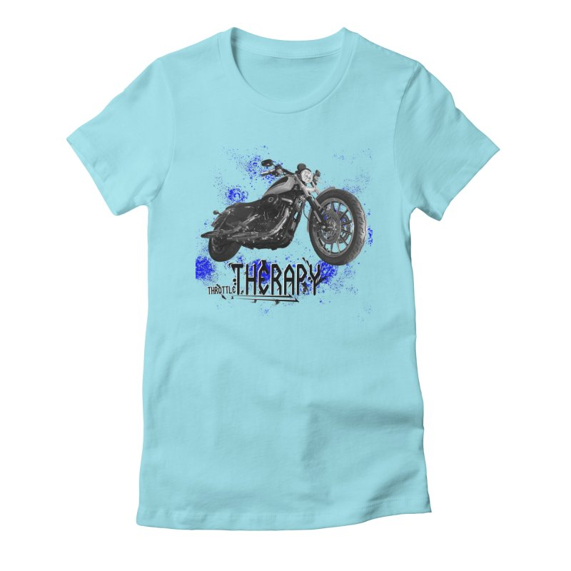 THROTTLE THERAPY BLUE SPLAT UNO Women's Fitted T-Shirt by ExploreDaily's Artist Shop