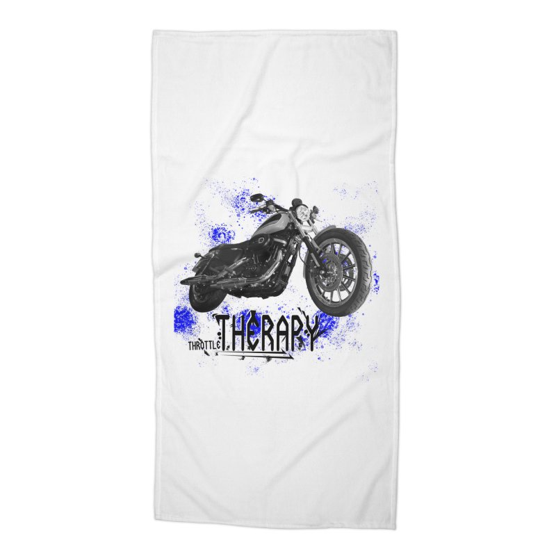 THROTTLE THERAPY BLUE SPLAT UNO Accessories Beach Towel by ExploreDaily's Artist Shop
