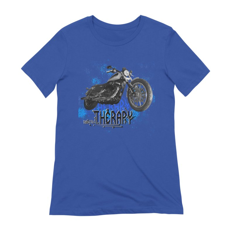 THROTTLE THERAPY CYBER BLUE Women's Extra Soft T-Shirt by ExploreDaily's Artist Shop