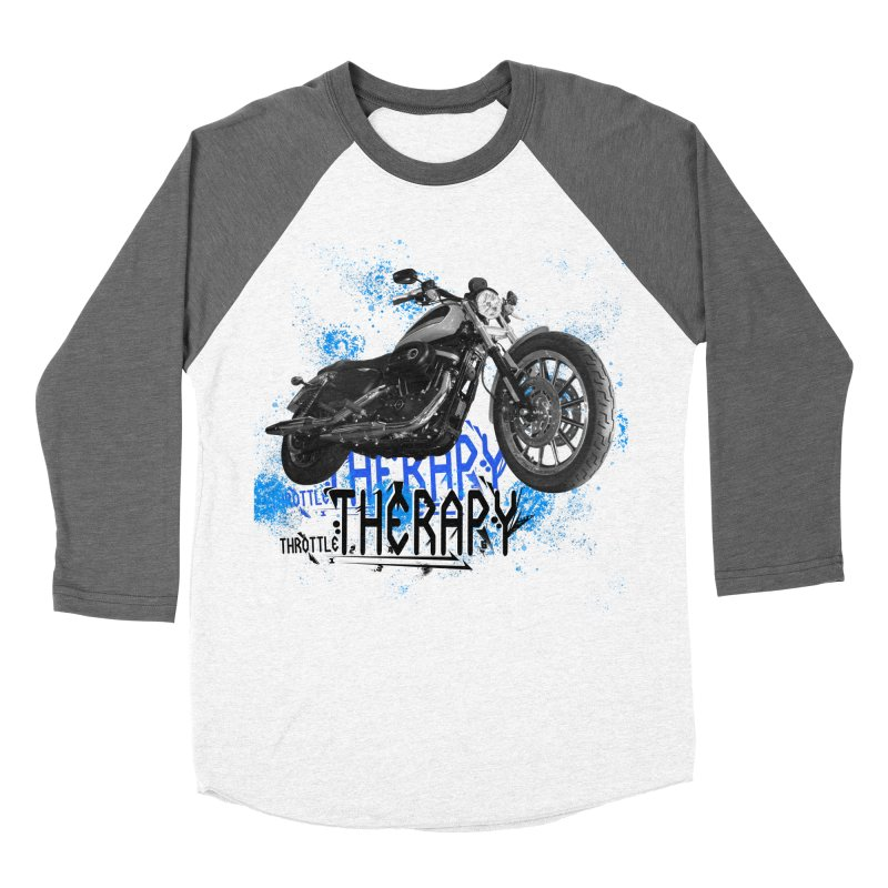 THROTTLE THERAPY CYBER BLUE Women's Baseball Triblend Longsleeve T-Shirt by ExploreDaily's Artist Shop